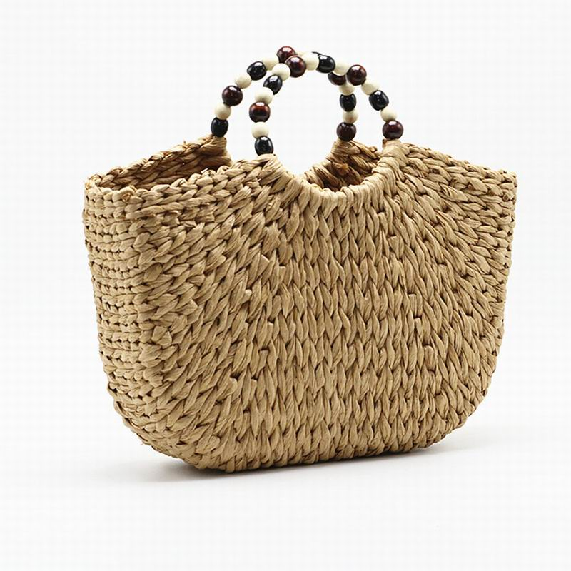 2019 Summer Brand Designer Bead Hand-woven Straw Bag Half-Moon Straw Tote Women Tote Bags For Summer Travel Handle Bag