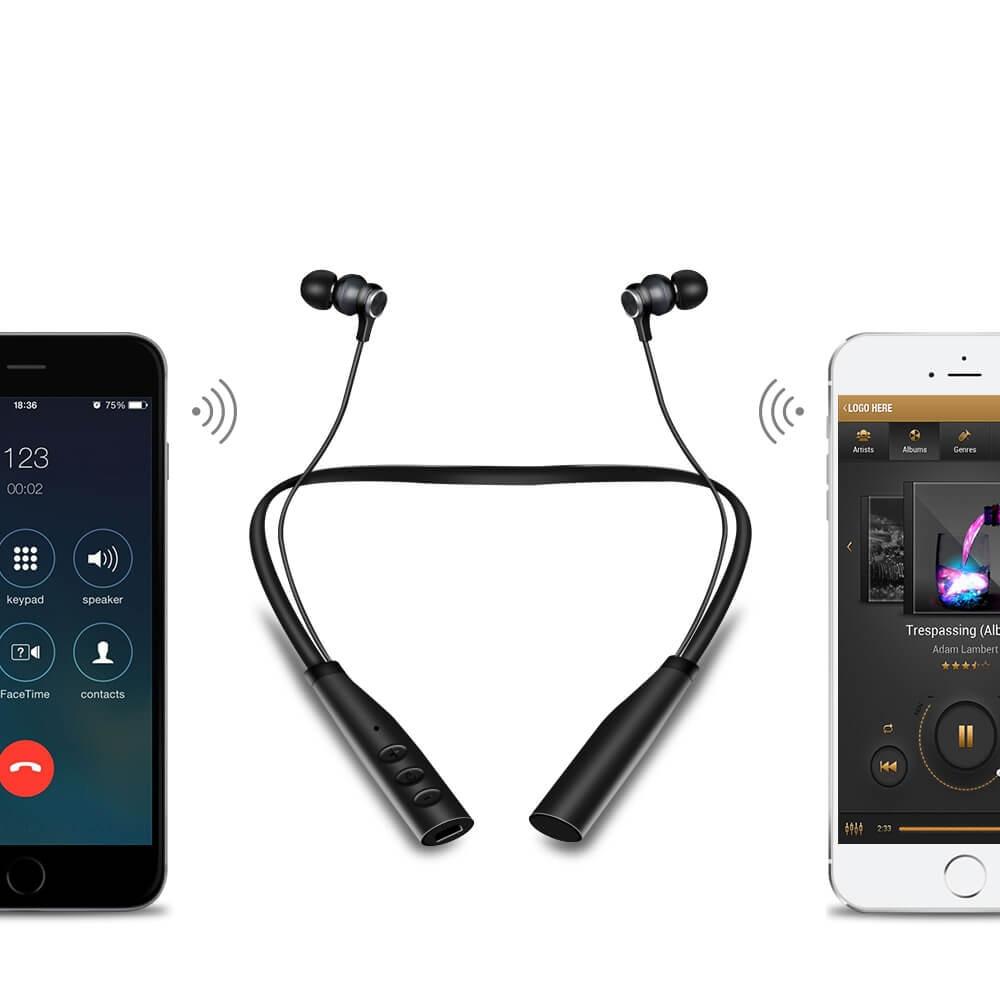 Mp3 Jogador Do Bluetooth Fone de Ouvido com Microfone Bluetooth MP3 Music Player Fones de Ouvido Sem Fio para Telefone Apoio TF/Cartão TF Max para 32 GB