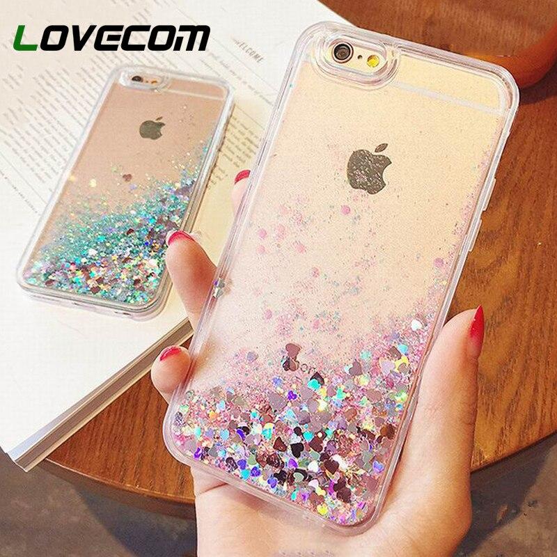 Love Heart Stars Glitter Stars Dynamic Liquid Quicksand Soft TPU Phone Back Cover Case For iPhone 5 5S SE 6 6S Plus 7 7 Plus