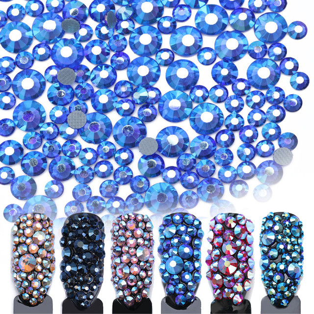 1 Bag Nail Rhinestone Multi-size Flat Bottom 2mm-5mm Champagne Blue FlatBack Studs Manicure