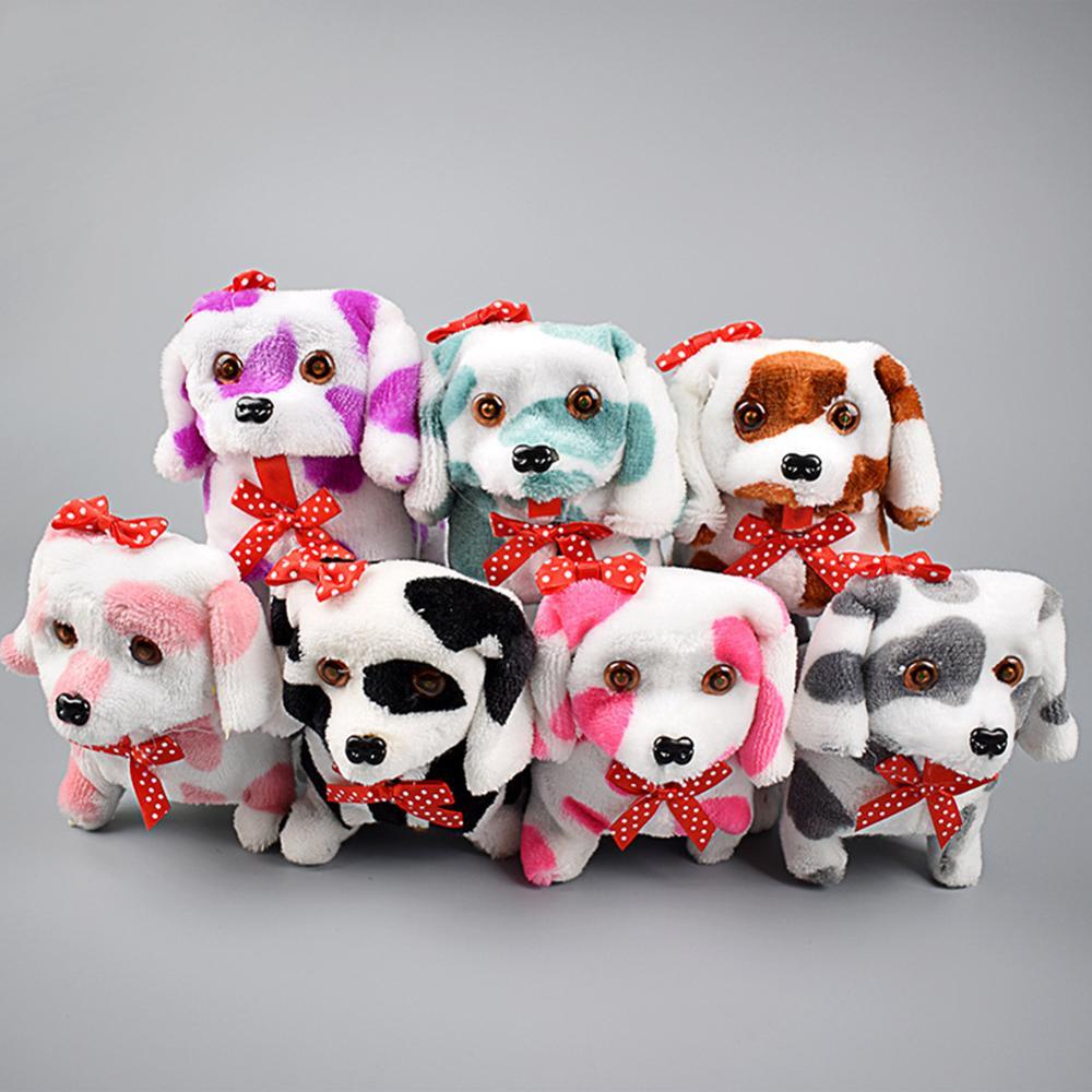 Electric Cute Plush Dog LED Light Eyes Walking Barking Puppy Children Toy Gift