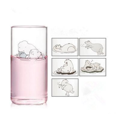 6 pieces 300ml Cartoon bear transparent glass tea ...
