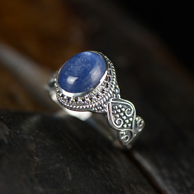 Guaranteed Sterling Silver 925 Ring Wedding Women Jewelry Vintage Natural Kyanite Gemstone Adjustable Fine Jewelry Anillos