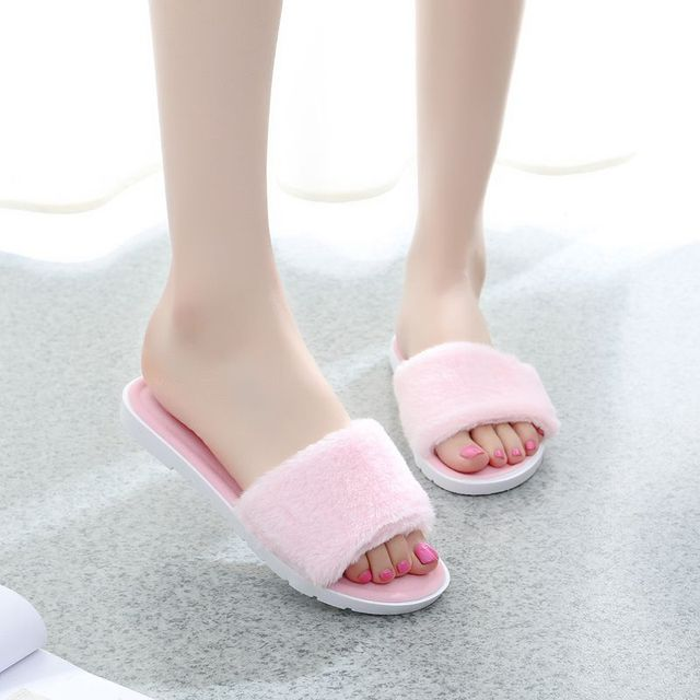 19b221bd1 Large Size 36-40 Hot Women Slippers Fashion Spring Summer Autumn Plush Slippers  Women Faux Fur Slides Flip Flops Flat Shoes