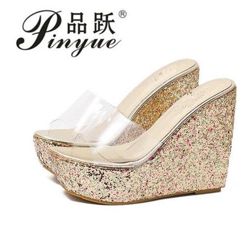 2018 New Summer Transparent Platform Wedges Sandals Women Fashion High Heels Female Summer Shoes Size 34-40 Drop Shipping