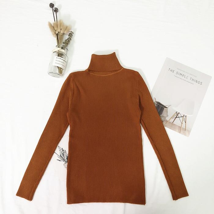 Женские свитера, зимние топы, водолазка, свитер для женщин, тонкий пуловер, джемпер, вязаный свитер, Pull Femme Hiver Truien Dames, новинка - Цвет: Коричневый