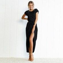 VITIANA Women Plus Size XS-3XL Casual Long Dress Female 2018 Summer Elegant Short Sleeve Belt Midi Loose Party Dresses Vestidos