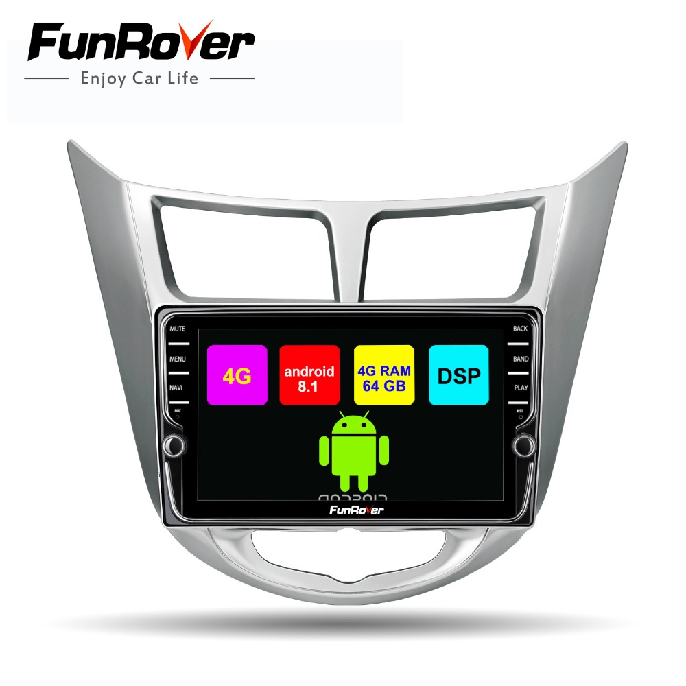 Funrover Octa core android 8.1 2 din car dvd multimedia player radio for hyundai solaris accent verna 2011-2015 DSP 4G RAM 64G
