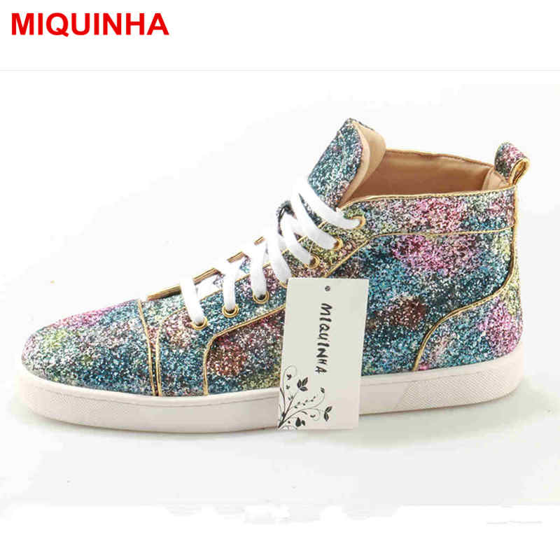 MIQUINHA Designer Superstar Men Shoes Sapato Masculino Zapatos Hombre Unisex High Top Rhinestones Crystal Casual Shoes Men Flats hercules утэ 016