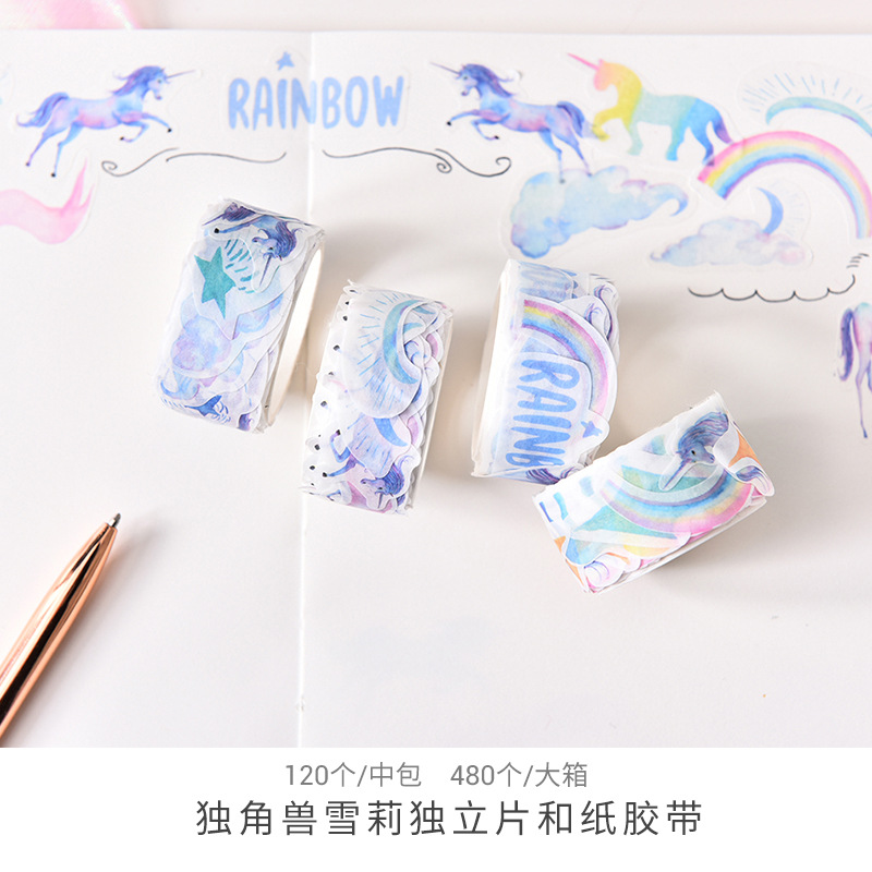 Rainbow Unicorn Washi Tape DIY Scrapbooking Sticker Label Masking Tape School Office Supply 1 5cm wide various mushroom collections washi tape diy scrapbooking sticker label masking tape school office supply