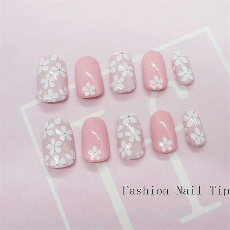 Press on Pink Flower False Nail with Designs Glitter Full Cover Fake ...