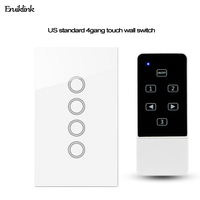 US Standard Smart Home Wall Light Switch Crystal Glass Panel 4 Gang 1 Way Touch Remote