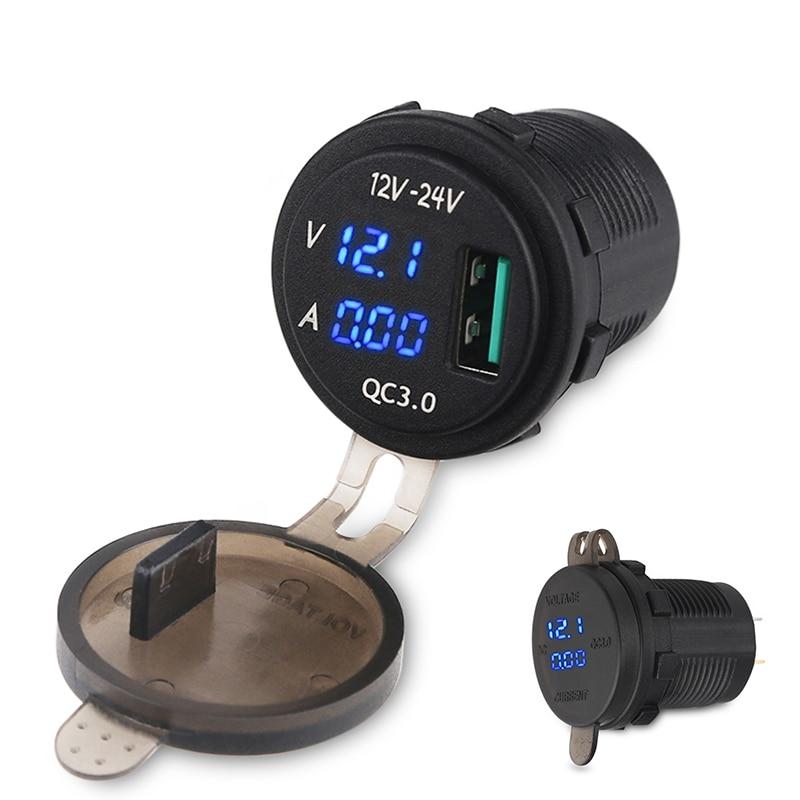 Charge rapide 3Amp USB Chargeur Prise Pour Voiture Bateau Moto QC3.0 USB Adaptateur Avec Led Voltmètre AMP Indictator Affichage Numérique
