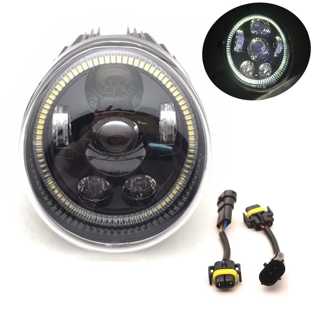 For Motorcycle V Rod Led Headlights With Daytime Running Light White Halo Ring For Vrod VRSC/V-ROD Oval Headlamp 60W