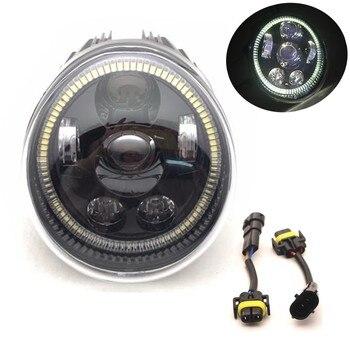 For Motorcycle V Rod Led Headlights With Daytime Running Light White Halo Ring For Vrod VRSC/V-ROD Oval Headlamp 60W