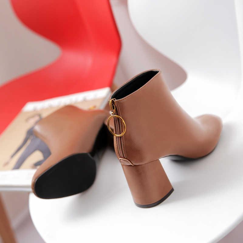 2018 Kore versiyonu yeni kadın botları, arka fermuarlar kalın topuklu kısa çizmeler kısa çizmeler ve gelgit çıplak çizmeler
