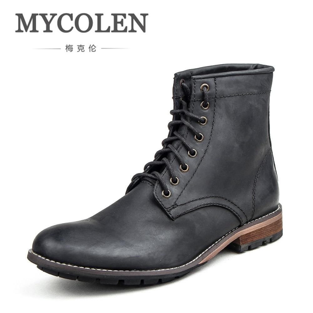 цены MYCOLEN Men Lace High Combat Men Boots Comfortable Luxury Designers Male Motorcycle Punk Boots Men'S Shoes Mens Winter Boots