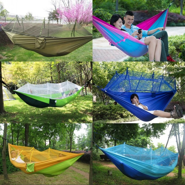 8 color Portable Double Hammock Army Green High Strength Parachute Nylon Camping Mosquito Garden Swing With Mosquito Nets Hamaca