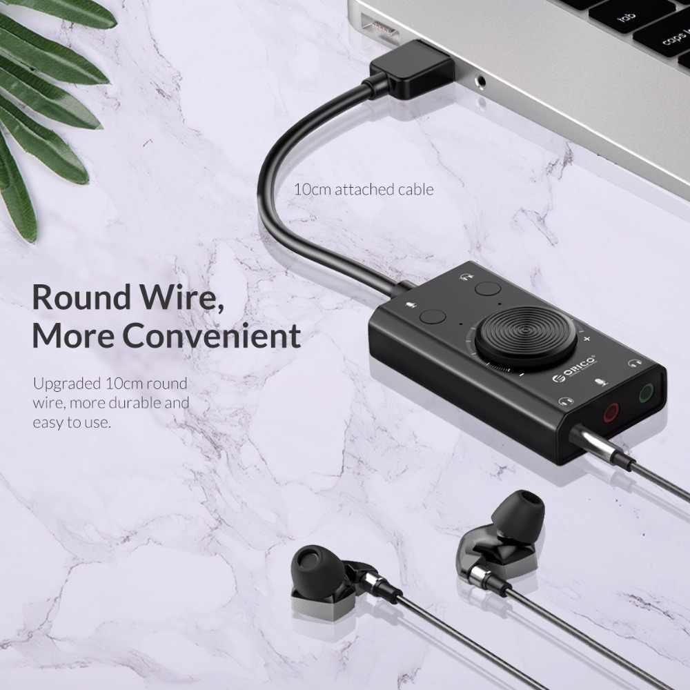ORICO, portátil, USB, tarjeta de sonido externo, auricular con micrófono, dos en uno, con salida de 3 puertos, Volumen ajustable para Windows Mac Linux
