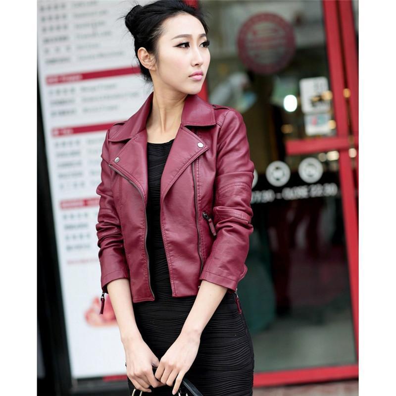 2018 Spring Vintage PU Leather Jacket Women Slim Biker Motorcycle Soft Outwear Faux Leather Zipper Jackets Spring Ladies Coats