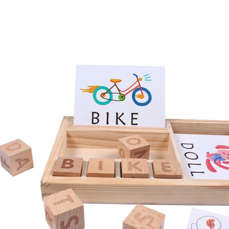 De Madera de rompecabezas cognitivo tarjetas de cartón nuevo bebé Juguetes Educativos de aprendizaje de inglés de bebé de madera, materiales Montessori Juguetes