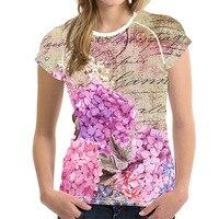 Vintage Purple Flower Print Girls Summer T shirts Comfortable/Breathable O Neck Tees Clothes Harajuku Fitness Tshirt