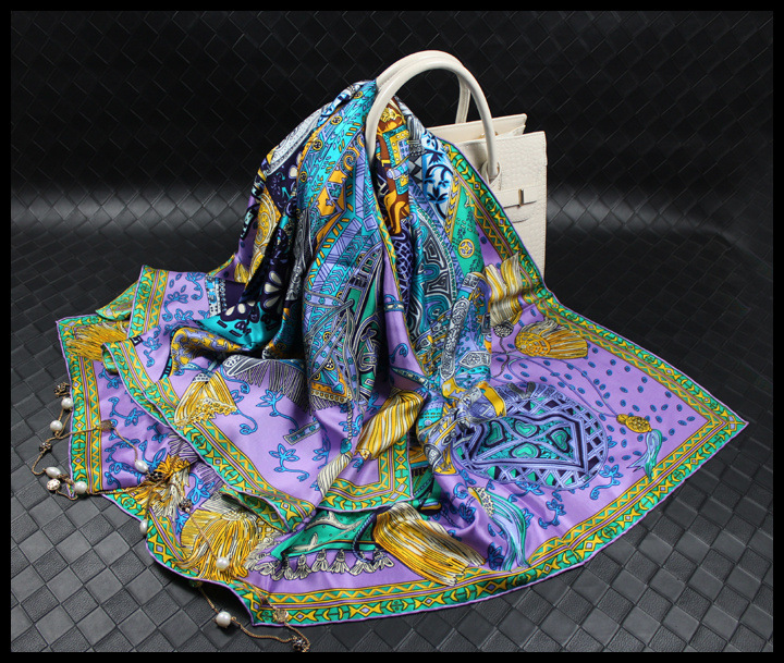 Caucasian Soil Print High Grade Silk Scarf Square Scarves Fashion NEW Neck Wear Accessory Clothing Scarfs