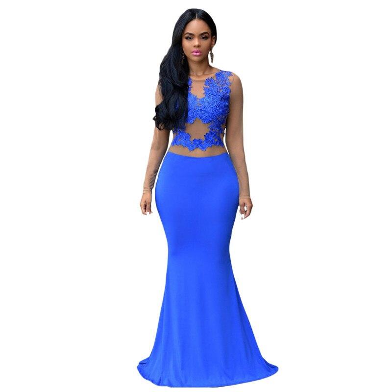 Hot 2017 Autumn Vintage Long Sleeve Maxi Dress Casual Royal Blue/Claret Nude Mesh Accent Long Dress Evening Elegant LC60831