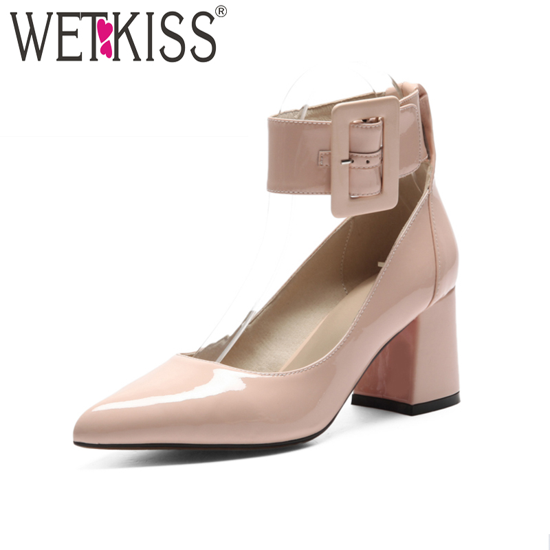 WETKISS Ankle Strap High Heels Women Pumps Hoof Heels Buckle Cow Leather Pointed Toe Footwear Spring Fashion Ladies Office Shoes платье philipp plein платье