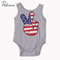 PUDCOCO Brand Cotton High Quality Newborn Clothes Baby Girls Boys American Flag Romper Jumpsuit Sunsuit US Stock 0-24M