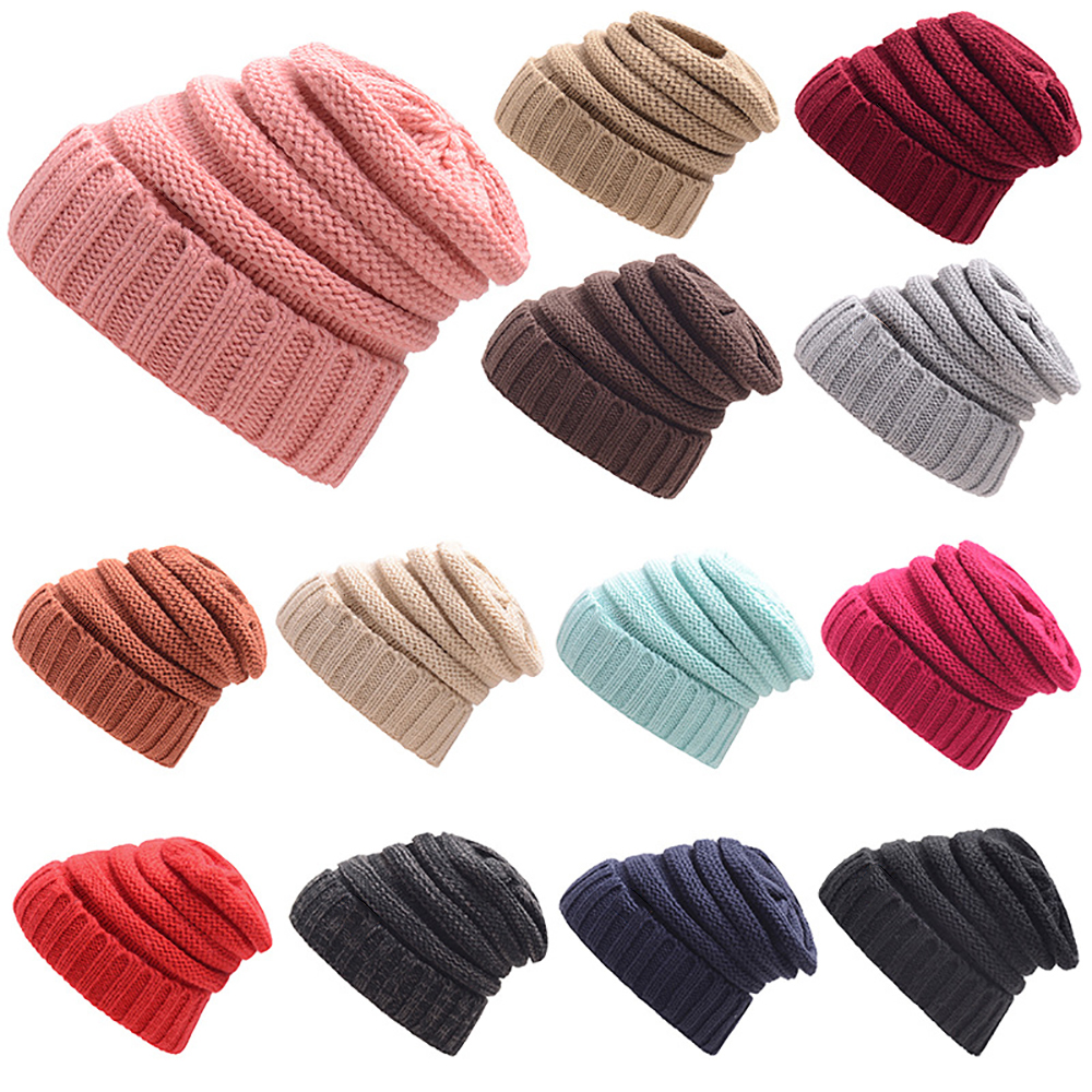 Fashion travel Beanie Female Ball Caps Outdoor Warm Winter Hat For Women Hats Knitted  Cap Thick Ladies Skullies Beanies