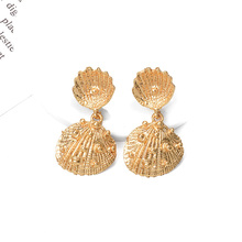 ZA News Metal Shell Shaped Dangle Drop Earrings Statement Pendientes 2019 Hot Sale Special Gift Jewelry For Women Girls