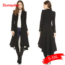 Dunayskiy Women Trench Coat Plus Size 5XL Black Slim Maxi Long Trench Dovetail Long Sleeve Casual Solid Female Wool Outwears(China)