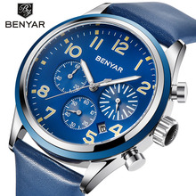 New BENYAR Watch Men Fashion Business Quartz Clock Men's Watches Top Brand Luxury Leather Waterproof Watch Relojes Hombre 2018 claudia new business casual dress watches men pu leather quartz military watch luxury brand wristwatch relojes hombre 2016 clock