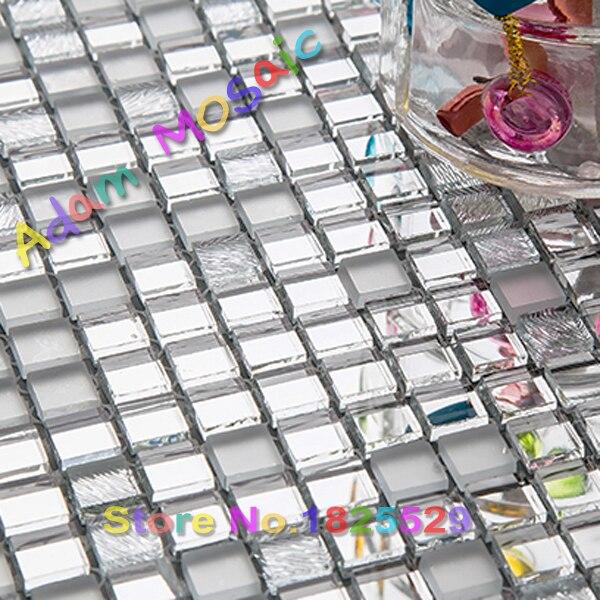 Silber Glas Mosaik Fliesen Küche Backsplash Spiegel Fliesen Innen Duschwand  U Bahn Materialien Mosaikkunst