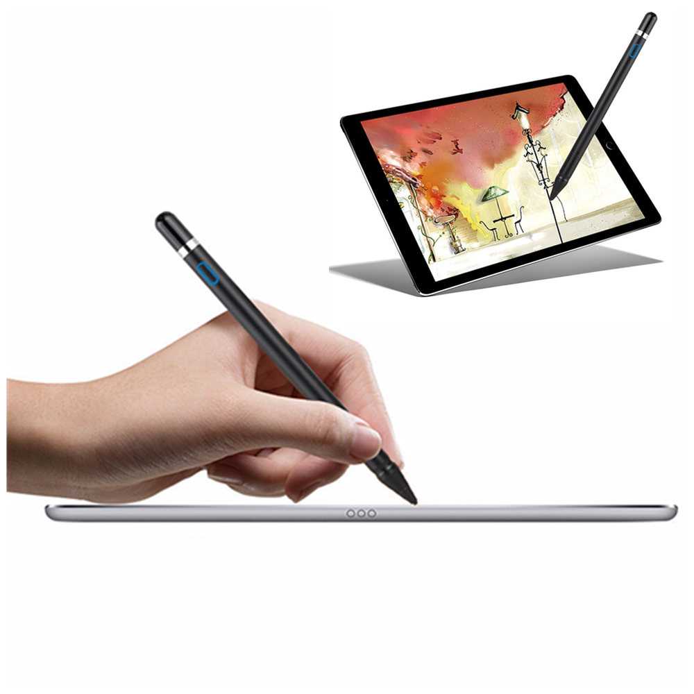 NIB 1.3mm Active Stylus Capacitive Touch Screen Pen Pencil For Apple iPad 2 3 4 Mini Pro 9.7 10.5 12.9 9.7 2017 2018 Tablet PC cute mini mushroomhead style capacitive touch screen stylus silver