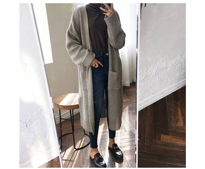DICLOUD Fashion Long Cardigan Women 19 Fashion Harajuku Loose Knit Sweater Women Casual Black Oversized Jacket Coat Autumn 17
