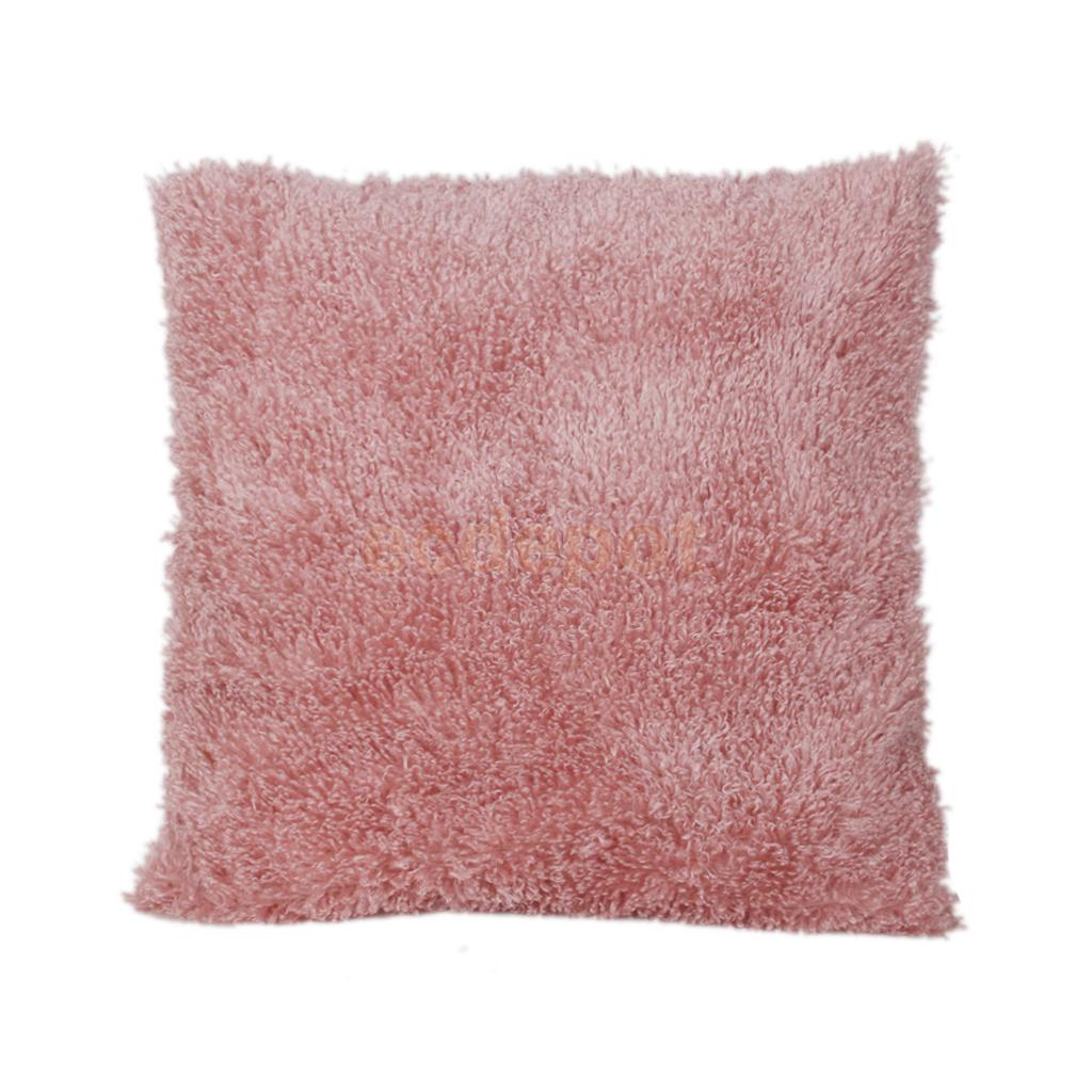 Solid Color Soft Plush Throw Pillow Case Cushion Cover Lounge Car Decoration Pink