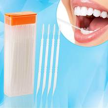 LanLan 50pcs/lot Portable Disposable Toothpicks Teeth Cleaning Dental Flosser Travel Two-head Floss Sticks Color Random(China)