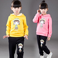 Children's clothing girls sets winter 2pcs long+pant child set cartoon sweatshirt kids girls thickening plus velvet twinsets