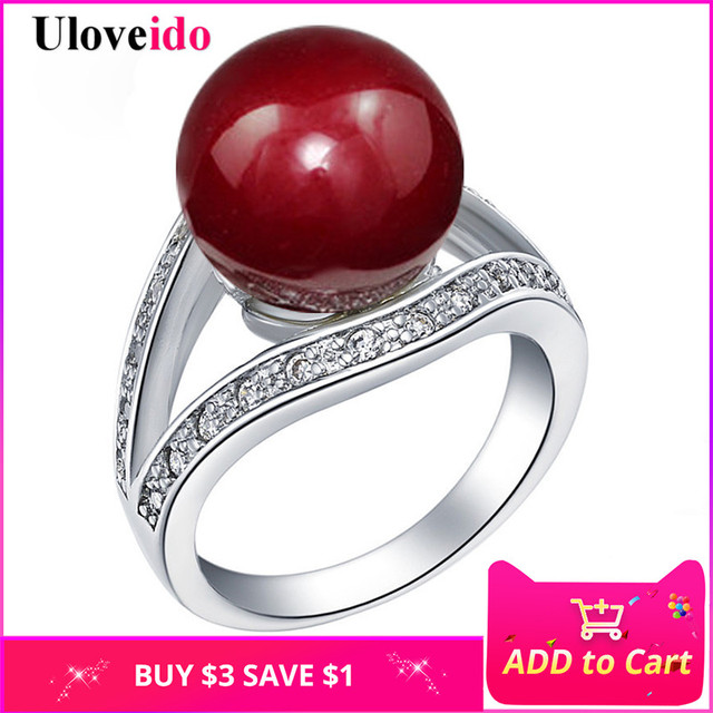 15% Off Wedding Rings for Women Valentine's Day Gift Simulated Pearl Ring Red Fa