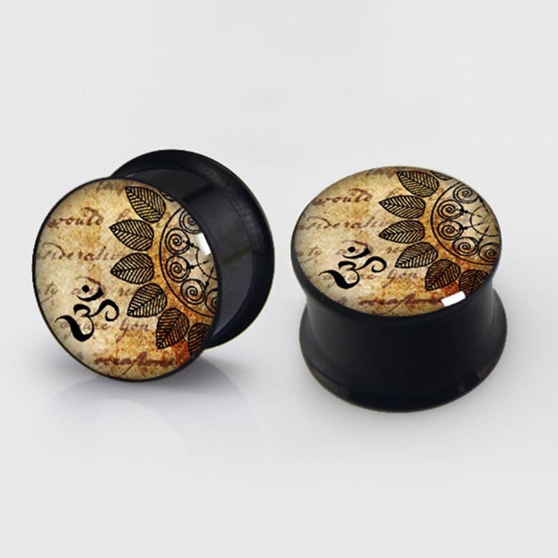 2 pieces YOGA plugs anodized black ear plug gauges steel flesh tunnel earlets body piercing jewelry 1 pair