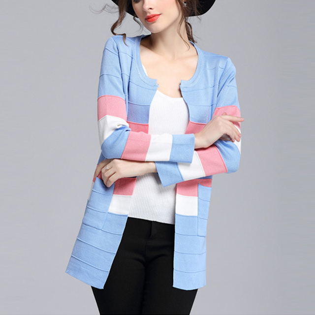 5afb58c045 Women Elegent Blue Long Cardigan Patchwork Sweater Coat Female Ladies Tops  2016 Fashion Spring and Autumn