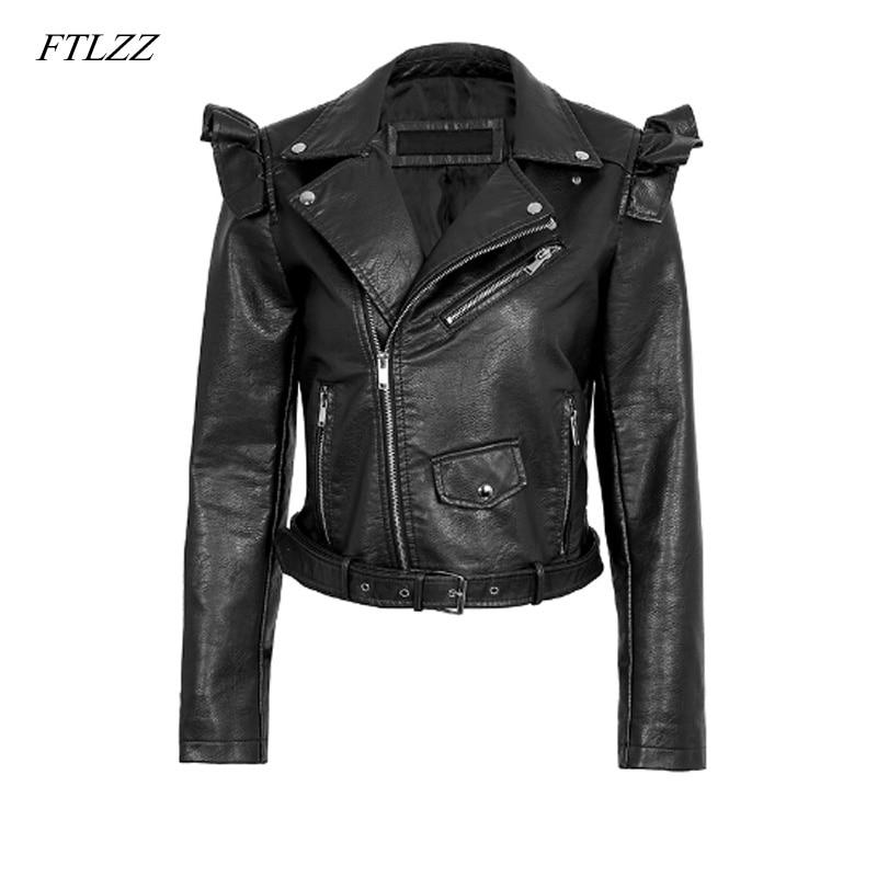 FTLZZ Autumn Winter New Pu   Leather   Jacket Women Zipper Ruffle Jackets Coat Faux   Leather   Jacket Outerwear