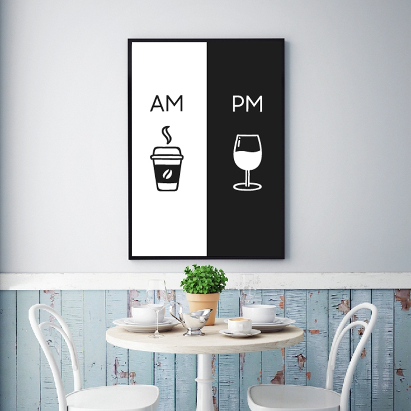 Am Coffee PM Wine Sign Print Kitchen Poster Home Wall Art Decor Coffee & Wine Art Canvas Painting Wall Picture Decoration