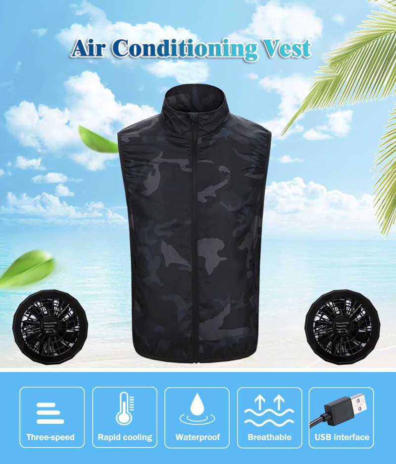 Zomer Koeling Wandelen Vest Voor Mannen Vrouwen Sport Outdoor Hoge Temperatuur Werken Vissen Fan Vest Smart Airconditioning Kleding