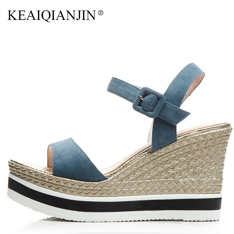 KEAIQIANJIN Woman Genuine Leather Wedges Sandals Black Plus Size 33 High Heeled Shoes Fashion Summer Open Toe Platform Sandals timetang summer women shoes woman fashion genuine leather open toe sandals ladies casual platform wedges plus size sandals c213