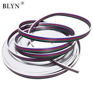 5 pin RGBW drutu 100M 50M 10M 5M 22AWG czysta miedź drut płaski dla dioda led RGBW taśmy przedłużyć kabel złącze