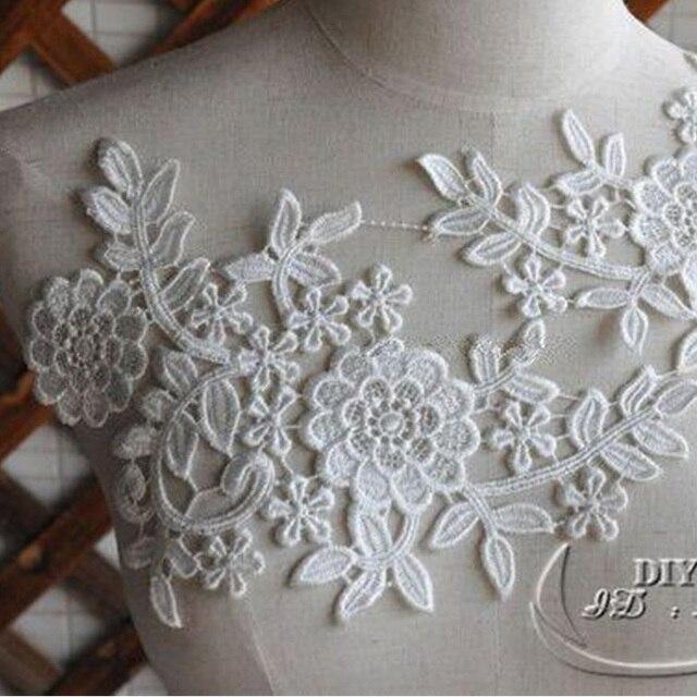 1 pièce en dentelle florale cousue | Blanc cassé, motifs floraux, appliques brodées en dentelle pour mariage, patchs brodés en dentelle pour mariée