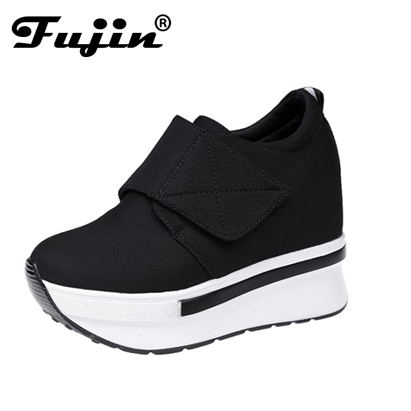Fujin Women Wedge casual shoes Platform Lace Up High heel Shoes Round Toe Autumn Increased Internal Lady Shoes nayiduyun women genuine leather wedge high heel pumps platform creepers round toe slip on casual shoes boots wedge sneakers